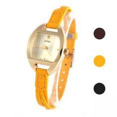 Damen Quarzuhr Armbanduhr mit Lederband Mini