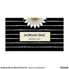 Makeup Artist Black Floral Professional Business Business Card