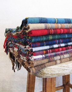 Gathering of tartan throws