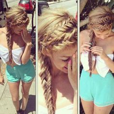cute mixture of fish tail and french braid combination. summer very cute for summer