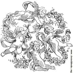[Picture: Four Cherubs With Garlands, Ribbons and Flowers] Baby Angel Tattoo, Baby Tattoos, Tatoos, Retro Illustration, Ink Illustrations, Cherub Tattoo Designs, The World Tarot Card, Soul Collage, Angel Drawing