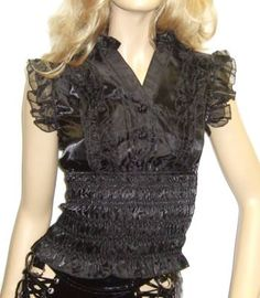 Living Dead Souls - Black Ruffle Top with Rose Buttons