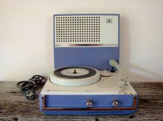 vintage purple portable electric record player by epochco on Etsy