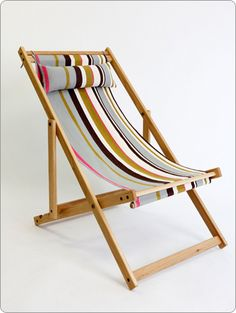 "Deck chair with Fabric Sling and Pillow North American White Oak Handmade Deck Chair, protected with a natural and hard wearing outdoor oil. Removable 100% Cotton fabric sling and pillow set. Tree donated and planted with every sale. Length up to 41"" Height up to 36"" Width 23.5"" $345 USD"