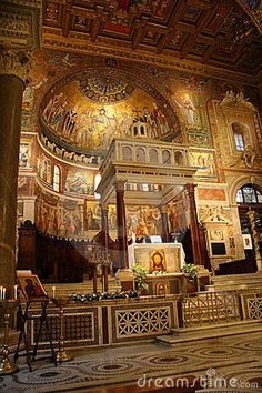 Oldest Church In Italy | Altar of a Catholic Church in Rome, Italy.