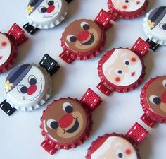 Christmas and Winter Bottle Cap Hair Clips No tut just idea: