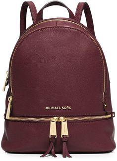 MICHAEL Michael Kors Rhea Small Zip Backpack, Merlot - handbag, vintage, popular, coin, big, fabric purse *ad