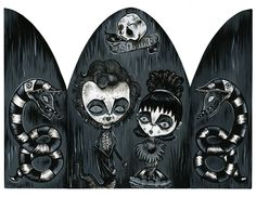 """Home is where the ghost is - Acrylic on wood -  closed - 23,8x16 cm - open - 32x 23,8 - Tribute to the movie """"Beetlejuice"""" by Tim Burton"""