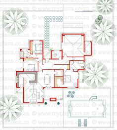 3 Bedroom House Plan - My Building Plans Round House Plans, House Floor Plans, House Layout Plans, House Layouts, Bungalow House Design, Modern House Design, Single Storey House Plans, House Plans South Africa, Architectural House Plans