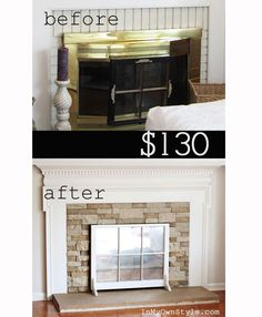 Airstone Fireplace makeover on a budget. If you want a stone fireplace it can be yours with a product called Airstone. Airstone Fireplace, Fireplace Redo, Fireplace Remodel, Fireplace Ideas, Fireplace Makeovers, Fireplace Cover, Fireplace Brick, Fireplace Candles, Country Fireplace
