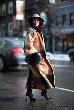 Retro color blocked coat
