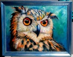 Yvette Andino Art oil, original oil great horned owl barn owl, framed 24x18 #Impressionismmodern Blue Painting, Acrylic Painting Canvas, Canvas Art, Great Horned Owl, Abstract Animals, Wild Dogs, Dog Paintings, Dog Portraits, Art Oil