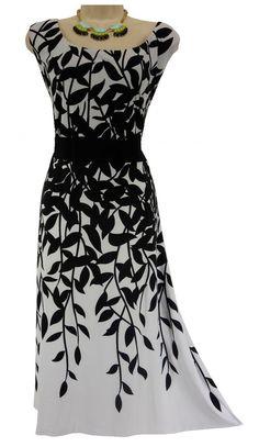 24W 3X SEXY Womens BLACK & WHITE LEAF PRINT MIDI/MAXI DRESS Summer PLUS SIZE #Dressbarn #MidiMaxi #Versatile