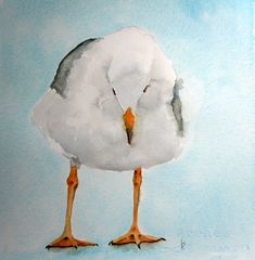 original bird painting bird art seagull  watercolor by bMoorearts, $75.00