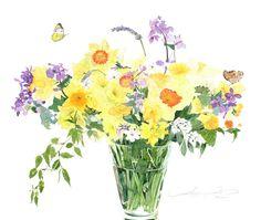 柘植彩子 水彩画 大根花と水仙