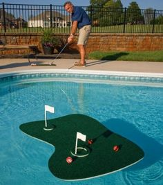 Pool backyard golf game! FUN!  Maybe Blake will want a pool if it had this with it.