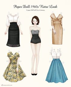 Paper DollPaper Doll 1960s Retro Look  by ENSEE     www.ens2e.com  www.facebook.com/ens2e  www.facebook.com/ens2epage