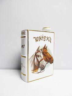 Vintage Porcelain Liquor Decanter Book whisky decanter, porcelain book end, horses horse rider porcelain de bruxelles decanter by EbyVintage on Etsy