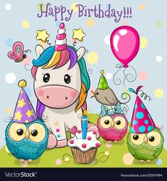 Unicorn and owls with balloon and bonnets. Birthday card with Cute Unicorn and owls with balloon and bonnets stock illustration Happy Birthday Ecard, Birthday Wishes For Kids, Unicorn Birthday Cards, Cute Happy Birthday, Happy Birthday Celebration, Happy Birthday Pictures, Birthday Wishes Cards, Happy Birthday Greetings, Happy Birthday Cartoon Images