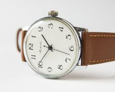 Soviet wrist watch Raketa  silver tone watch  by SovietEra on Etsy, $55.00