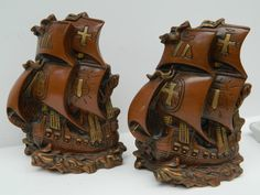 Vintage Chalk Ware Bookends / Old World Style Sailing Ships from the 1960s / Bookends