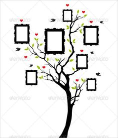 Buy Family Tree With Vintage Frames, Vector by amourfou on GraphicRiver. Family tree with vintage picture frames, vector background illustration AI EPS 8 and high resolution JPG pi. Family Tree Picture Frames, Blank Family Tree, Family Tree With Pictures, Family Tree Art, Vintage Picture Frames, Vintage Frames, Vintage Pictures, Free Family Tree Template, Molduras Vintage