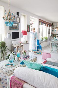 light, bright and airy with pops of turquoise