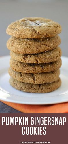 Time for some pumpkin cookie desserts! Make these Pumpkin Gingersnap Cookies. Pumpkin cookies meet gingersnap cookies and the results are AMAZING! You will love these pumpkin gingersnap cookies, they are the perfect fall dessert. Make this easy pumpkin r Fall Dessert Recipes, Köstliche Desserts, Fall Recipes, Holiday Recipes, Easy Pumpkin Desserts, Pumpkin Bars, Tuna Recipes, Pumpkin Cookie Recipe Healthy, Pumkin Cookies Recipes