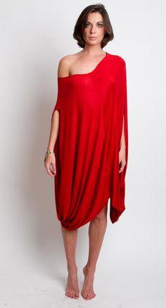 New Orange Dress  Chic Knit Draped Tunic Cocoon Space by mijumaju, $120.00