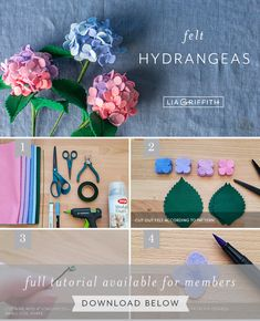 These small, colorful bunches of felt hydrangeas make us feel happy — and we hope they do the same for you! Learn how to make them with our flower pattern. Paper Flowers Diy, Handmade Flowers, Flower Crafts, Fabric Flowers, Ribbon Flower, Zipper Flowers, Felt Flowers Patterns, Felt Patterns, Felt Flower Tutorial