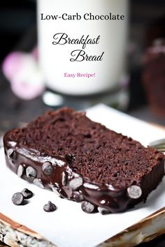 This Low-Carb Chocolate Breakfast Bread offers two delectable recipe versions! A truly delicious + simple, no fuss variety as well as a more involved, but decadent option. The choice is yours and you can't go wrong! Bakers Chocolate, Chocolate Cheese, Low Carb Chocolate, Decadent Chocolate, Sugar Free Milk, Kahlua Cake, Grain Free Bread, Low Carb Bread, Keto Bread
