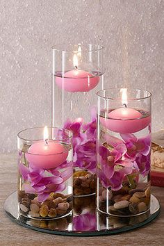 Set of 3 lilac floating candles with pebbles, #artificial #flowers & #mirrored ba,  View more on the LINK: http://www.zeppy.io/product/gb/2/201588096445/