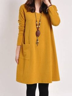 Delightful Round Neck Cotton Loose Fitting Shift-dress