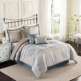 Bring a touch of elegance to your bedroom with the Ellery Homestyles Studio Hamilton Fashion Reversible Comforter Set. The beautiful bedding features jacquards and embroidery assembled in a pieced look in tones of tan, beige, slate, and blue. Home Bedroom, Master Bedroom, Bedroom Decor, Bedrooms, Master Suite, Bedroom Ideas, Hamilton, Main Image, One Bed