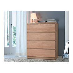 MALM Chest of 4 drawers, oak veneer - 80x100 cm - IKEA