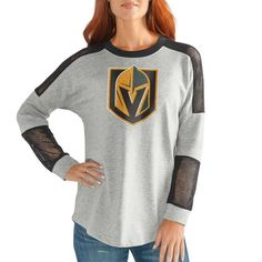 be44a8b1b Vegas Golden Knights G-III Sports by Carl Banks Women s Face Off Pullover  Long Sleeve T-Shirt – Heathered Gray Gray