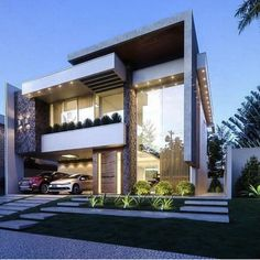 Super Home Design Plans Front Elevation 41 Ideas Modern Architecture House, Residential Architecture, Architecture Design, House Front Design, Modern House Design, Facade Design, Exterior Design, Style At Home, Bungalow Haus Design