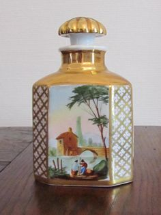 Empire bottle painted on all sides of animated landscapes. original cap Very good condition Bottle Painting, Empire, Perfume Bottles, Conditioner, Porcelain, Jar, Antiques, Home Decor, Antiquities