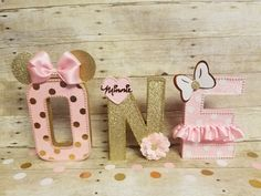 Pink and gold Minnie Mouse party,Pink and gold Minnie Mouse Party, ,Pink and gold party,letters decorations, by HeidiPartyCreations on Etsy https://www.etsy.com/listing/479730035/pink-and-gold-minnie-mouse-partypink-and
