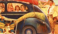"""""""Over Packed Vacation"""" by Russell Sambrook American) Road Trip To Colorado, Circus Poster, Roadside Attractions, Various Artists, American Artists, Vintage Images, Travel Posters, Illustrations Posters, New Art"""