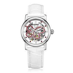 US $111.79 - Omelong Fashion Women Watches Hollowed Red Rhinestone Surface Dress Ladies Wristwatch White Genuine Leather Watchband Relojes