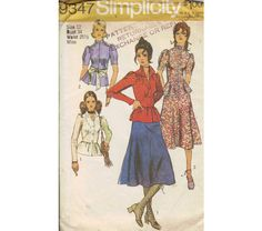 Simplicity Retro 70s Sewing Pattern Boho Style Peplum Waist Blouse Tapered Sleeves Shirt Midi Flared Skirt Uncut FF Bust 34, $7.0