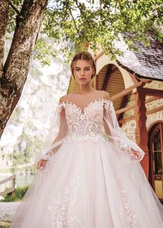 "Gorgeous Embroidered Ivory A-Lane Wedding Dress / Bridal Gown with V-Neck Cut Illusion, Long Sleeves and a Train. Collection ""Wind Rose"" 2019 by Armonia Bridal Dresses, Ball Gowns, Long Sleeve, Sleeves, Wind Rose, Princess Dresses, Collection, Illusion, Ivory"
