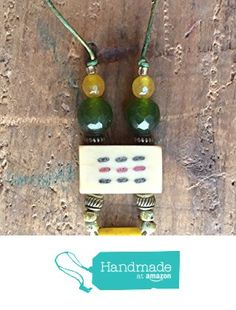 ART::WEAR Necklace by Cherie Lester, Vintage Mahjong, Green, Yellow, Czech Crystal, Stone & Beads on Genuine Green Leather Cord. from ART::WEAR Necklaces by Cherie Lester https://www.amazon.com/dp/B01N0QWJYU/ref=hnd_sw_r_pi_dp_EvtHyb6JDTGRN #handmadeatamazon
