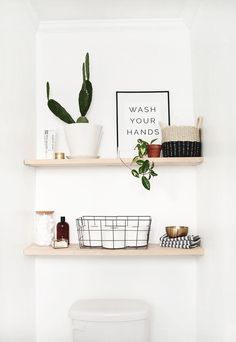bathroom shelf decor Open up your space with these Classic DIY Bathroom Shelves so you can say goodbye to cluttered bathroom counters and floors. Toilet Shelves, Bathroom Shelves Over Toilet, Bathroom Shelf Decor, Floating Shelves Bathroom, Bathroom Interior, Bathroom Ideas, Bathroom Organization, Shiplap Bathroom, Bathroom Storage
