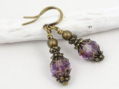 Antique Brass Earrings Purple Earrings Amethyst Purple Jewelry Vintage Style Jewelry
