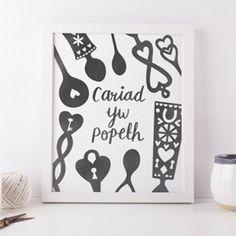 Cariad yw Popeth print, grey