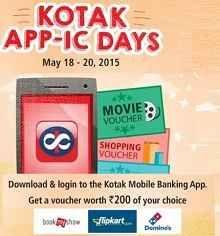 Kotak App Free Gift Voucher Offer : Download Kotak App and Get Rs.200 of Bookmyshow, Flipkart & Dominos - Best Online Offer