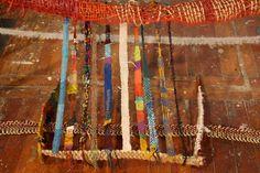 Loom,4' x 6' x 8', 2003-2009, by Britta Fluevog,  Wool, Jute, sisal, linen, silk, cotton, hemp, tinsel & various materials, technique: hand woven