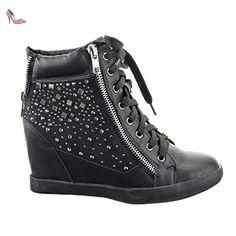 Sopily - Chaussure Mode Baskets compensée Montante Montante femmes strass diamant Fermeture Zip Talon compensé 9 CM - Intérieur cuir - UK 8 - Noir - FRF-1018-666 T 41 - Chaussures sopily (*Partner-Link)